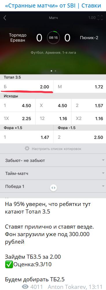 Коэффициенты ставок на канале Странные матчи