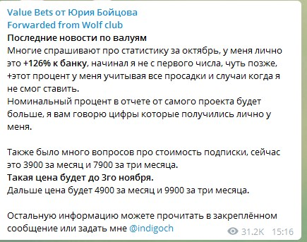 Статистика на канале Value Bets