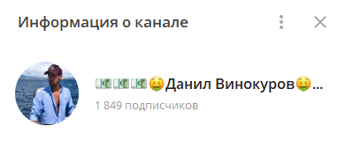 Телеграмм-канал Данила Винокурова